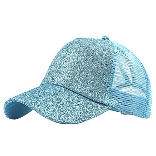 YEZIJIN Ponytail Messy Buns Trucker Plain Baseball Visor Cap Unisex Glitter Hat Beach Sun Visor Hats 2019 Light Blue -