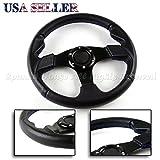 Black PVC Leather Blue Stitch USA 320mm 6-Hole Aftermarket Sport Steering Wheel