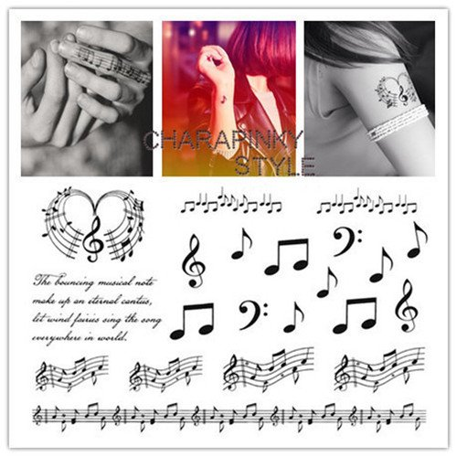 SanerLian Waterproof Temporary Tattoo Stickers Musical Notes Design Body Art Styling Tools Set of 2]()