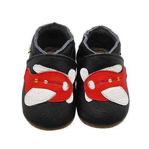 Sayoyo Suaves Zapatos De Cuero Del Bebé Zapatillas Aeronave Negro