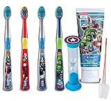 "Ultimate Super Hero Inspired 6pc Bright Smile Oral Hygiene Pack! Avenger's Manual Toothbrush Set, Toothpaste & Brushing Timer! Plus Bonus ""Remember To Brush"" Visual Aid!"
