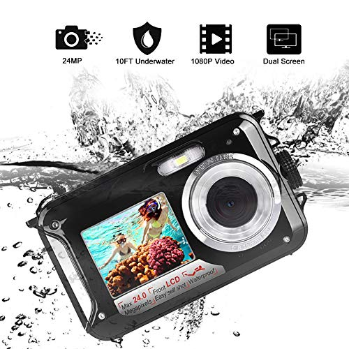Waterproof Digital Camera FHD 1080P Underwater Camera 24.0MP Waterproof Camera Selfie Dual Screen Point and Shoot Underwater Digital Camera (k1)