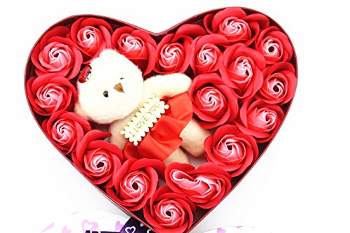 18Pcs Scented Bath Soap Rose Flower Petal in Heart Shape Box With Little Bear and I Love You for Wedding Party Gift - Shape Heart Flower