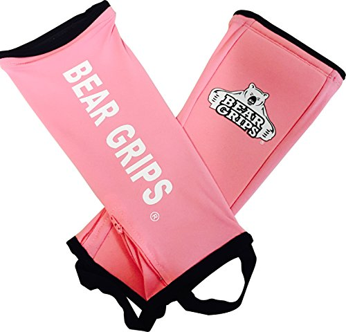 Bear Grips:Shin Guard Sleeves, Padded 5mm shin Protection for Rope climbs, Box Jumps, Dead Lifts,Olympic Lifts, Weight Lifting, OCR,Bike,Run (Pink, Small, Single Sleeve)