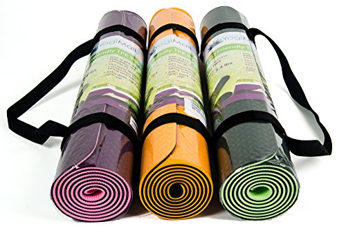 Eco Friendly Two Layer TPE Premium Yoga Mat with Carry Strap by YogiMall, Free of PVC and Other Toxic Chemicals, Non-Slip, Extra Long 72