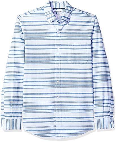Amazon Essentials – Camisa Oxford de manga larga de corte entallado de rayas para hombre