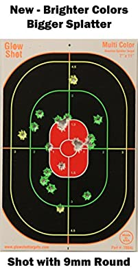 75 pack - 7x11 Oval Reactive Splatter Targets - GlowShot - Multi Color - See Your Hits Instantly - Gun, Rifle & Airsoft Targets