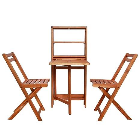 FDGBCF Juego de Bistro 3 Piezas Mesa y sillas Plegables ...