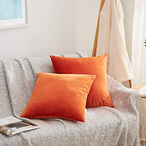 Acanva Solid Velvet Soft Decorative Throw Pillow 18 x 18 Tangerine accent pillow
