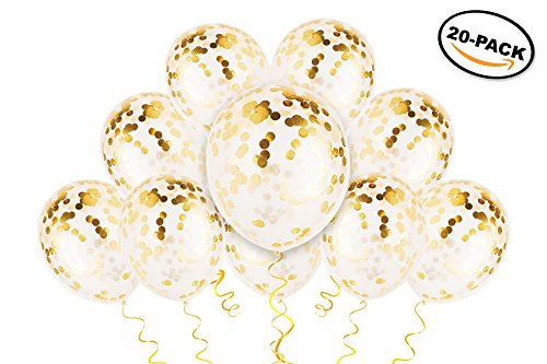 Gold Confetti Balloons - Gold Balloons - PREFILLED 20 Pack 12