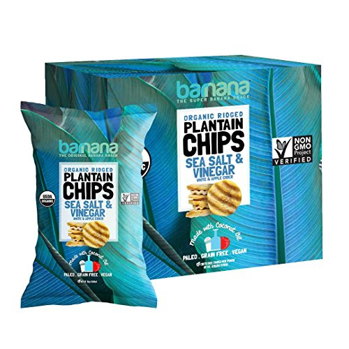 Barnana Organic Plantain Chips - Salt & Vinegar - 5 Ounce, 8 Pack Plantains - Barnana Salty, Crunchy, Thick Sliced Snack - Best Chip For Your Everyday Life - Cooked in Premium Coconut Oil