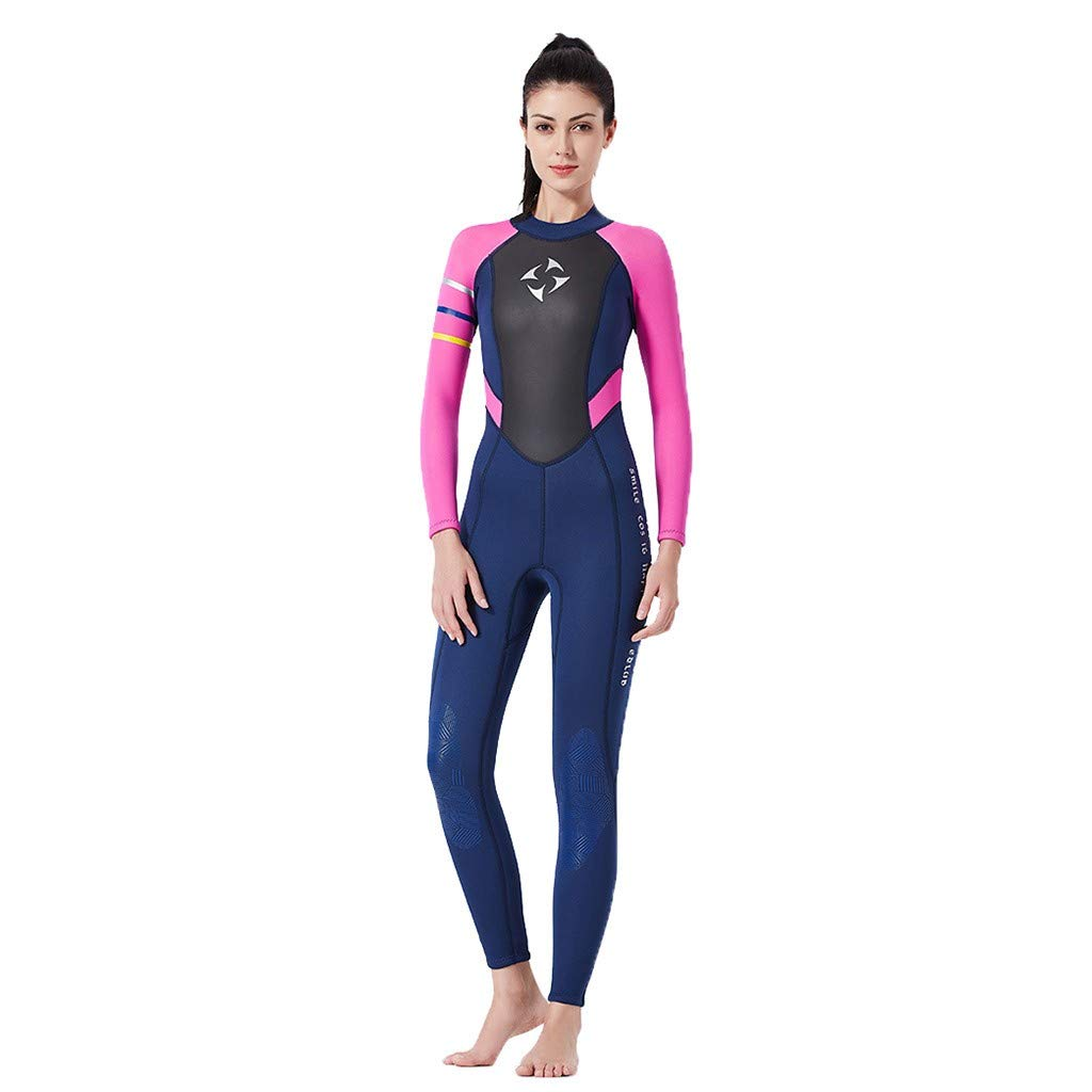 MILIMIEYIK Womens Wetsuit Full 3mm 2mm Neoprene Surfing Scuba Diving Snorkeling Swimming Suit Hot Pink