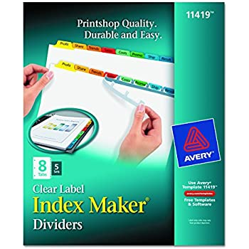Avery index maker label dividers easy apply for Avery easy apply 5 tab template