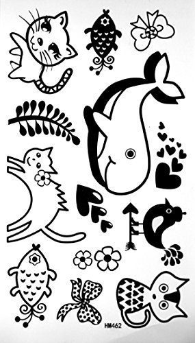 Lovely Tattoo Stickers non-toxic tattoos For Children Waterproof Tattoo Stickers Whale Dolphin Kitten Tattoos
