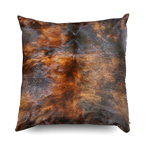 TOMWISH Hidden Zippered Pillowcase Cowhide Simulated Leather Look Brown Black 18X18Inch,Decorative Throw Custom Cotton Pillow Case Cushion Cover for Home Sofas,bedrooms,Offices,and More