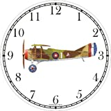 Spad XIII Biplane Green-Brown - JP - Wall Clock by WatchBuddy Timepieces (White Frame)