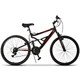 GTM 26'' Mountain Bike 18 Speed Bicycle Shimano Hybrid Suspension,Black&Red
