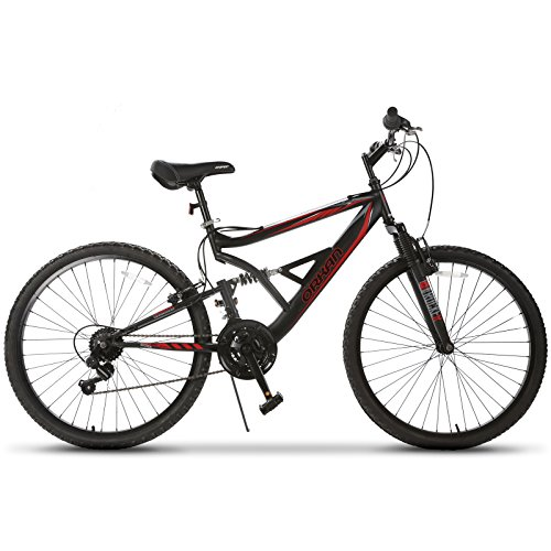 26' Adult Mountain Bike (GTM 26'' Mountain Bike 18 Speed Bicycle Shimano Hybrid Suspension,Black&Red)
