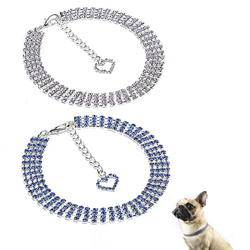 Stock Show 2Pcs/Pack Pet Rhinestone Collar Necklace Dogs Bling Crystal Jewelry Necklaces with Love Heart Pendant Dog Cat Fancy Princess Style Collar for Small Pets Kitten Puppy, Blue&White ()