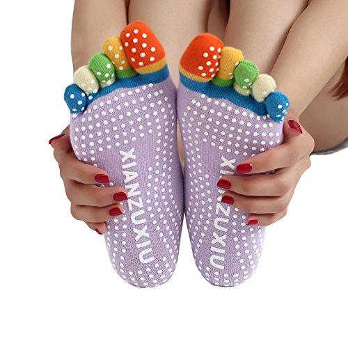 PeakAttacke Yoga Socks Toeless Non Slip Ballet Toe socks Barre Pilates Socks for Women 2 pack (Purple)