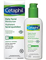Cetaphil Daily Facial Moisturizer SPF 15 - For Sensitive Skin - Oil Free, Fragrance Free and Paraben Free - Lightweight Lotion With Broad Spectrum Protection - Dermatologist Recommended, 120ml