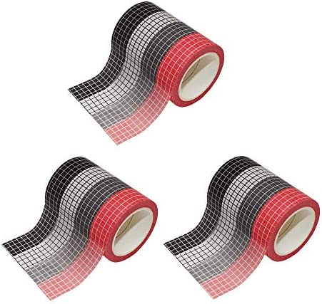 12 Rolls Grid Washi Tape Set 10m Colorful Adhesive Paper Masking Tapes 15mm Width Sticky Paper Tape for DIY Scrapbooking Crafts Decor Labels Arts Book Designs (3 Sets (3×4 Colors))