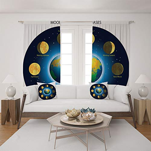 Clear Calendar Case Fold - 2 Panel Set Satin Window Drapes Living Room Curtains and 2 Pillowcases,Basic Phases of Moon Calendar Cosmos Universe,The perfect combination of curtains and pillows makes your living room warmer