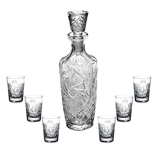 Decanter Pinwheel (Handcut Crystal 16 ounce Liqueur Decanter and Set of 6 Shot Glasses - Mouth Blown Pinwheel Design)