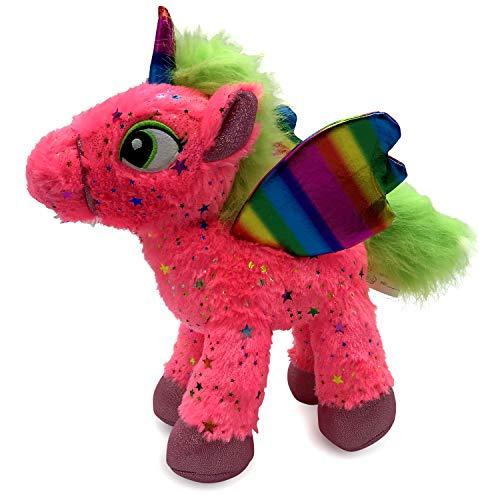 "LittleFoot Nation Bright & Shiny 13"" Big Plush Sparkle Standing Unicorn Toy, Soft Rainbow Pegasus Alicorn Stuffed…"
