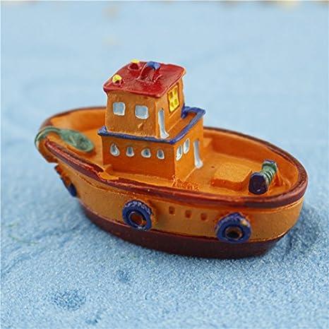 Outflower - Miniatura para colorear yate, barco, barco, hadas, jardín, adornos, mini maceta, decoración, paisaje, pecera, accesorios de resina, bricolaje, ...