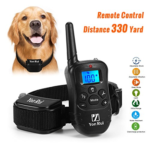 Remote Dog Training Collar YonRui Shock Collars for Dogs -Adjustable, Rechargeable and Waterproof , 330 Yard Range, 4 Modes (Shock, Light, Vibration & Beep), Safe for Small Medium and Large Dogs by Yonrui