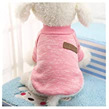 Mapletop High Quality Autumn Winter Warm Pet Dog Sweater Dog Clothes Coat Soft Wool Fleece 8 Colors Small Size S To Xl (S, Pink)