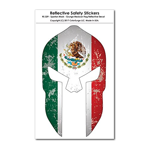CoolHubcaps Spartan Mask - Grunge Mexican Flag Design Reflective Decal
