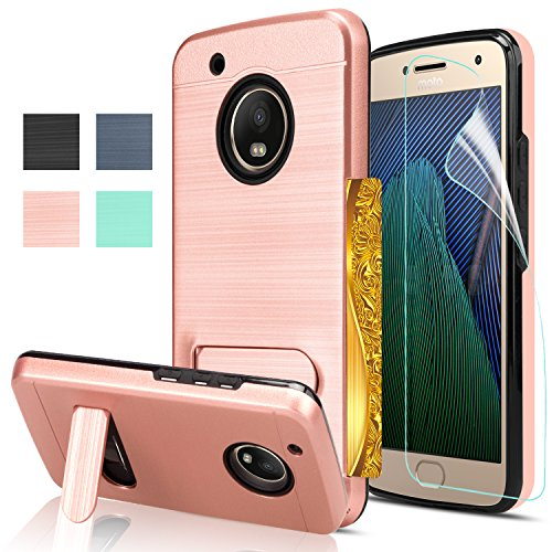Moto G5 Plus Case With Screen Protector Anoke Card Slots Holder  Wallet Kickstand Dual Layer Heavy Duty Tpu Shockproof Protective Case Cover For Moto G Plus 5Th Generatin Kc1 Rose Gold
