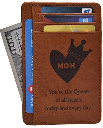 Personalized Mothers Day Gifts From Daughter Son - Engraved Unique Happy Mother Funny Gift for Mom Credit Card Leather Wallets