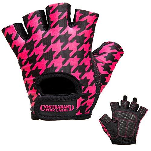 Contraband Pink Label 5257 Womens Design Series Houndstooth Print Lifting Gloves (Pair) - Lightweight Vegan Medium Padded Microfiber Amara Leather w/Griplock Silicone (Black/Pink, Medium)
