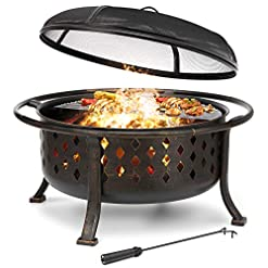Firepits KINGSO 36″ Fire Pit Outdoor Large Steel Wood Burning Fire Pits Bowl BBQ Grill Firepit for Outside with Spark Screen Cooking Grid Poker for Backyard Garden Camping Bonfire Patio, Oil Rubbed Bronze firepits