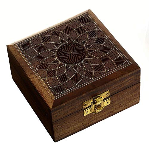 ShalinIndia Handcrafted Jewelry Box Wood Carved Unique Gifts for Women - Armoire Floral Jewelry