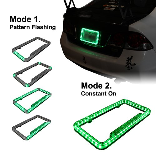 Universal 12v 54 LED Green Color Light Acrylic License Plate Frame
