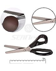 Tijeras de acero inoxidable con borde dentado en forma de abanico, tijeras de coser dentadas profesionales de 22,86 cm (3 mm)
