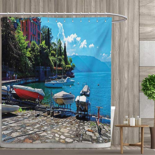 (smallfly Coastal Patterned Shower Curtain Italian Harbor in Verena with Fishing and Sail Boats European Sea Town Picture Shower Curtain Collection by 96