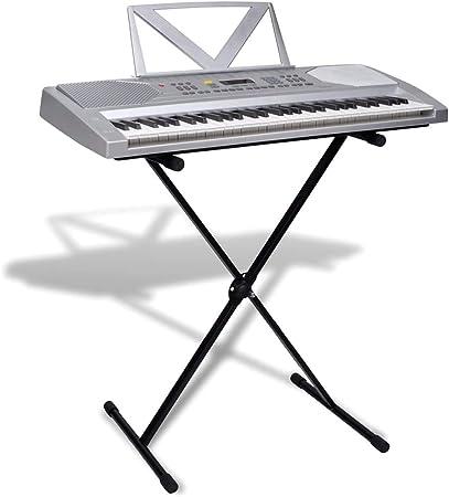 vidaXL 61 Teclas Piano Eléctrico +Atril +Soporte Ajustable ...