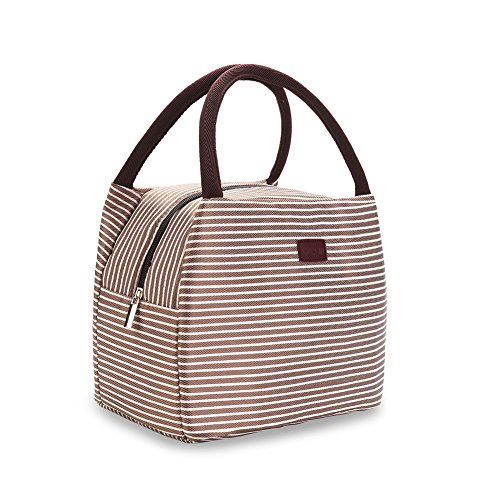OZCHIN Insulated Lunch Box Lunch Bags for Women Compact Reusable Tote Cooler Bag Lunch Pail Best Teacher Appreciation Gifts for Women (Coffee Brown) ()