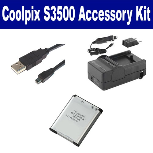 Nikon Coolpix S3500 Digital Camera Accessory Kit Includes: SDENEL19 Battery, SDM-1541 Charger, USB8PIN USB Cable