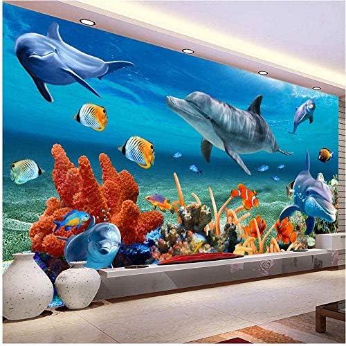 子供のための壁画の壁紙水中イルカ魚壁紙水族館の壁の背景部屋の装飾-200x140cm