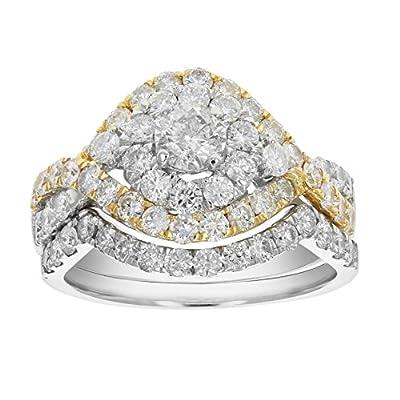 2 CT Diamond Wedding Engagement Ring Set 14K Yellow Gold