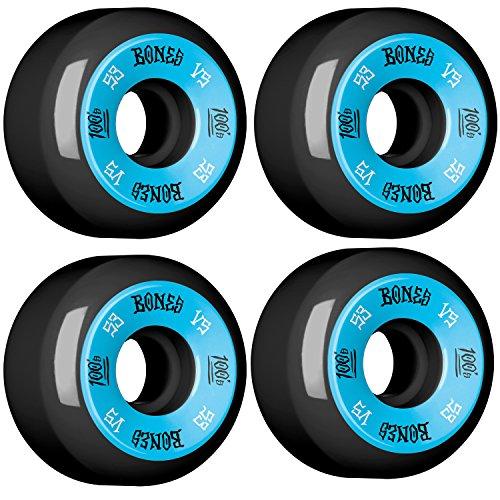 Bones Wheels 100's #10 Black / Blue Skateboard Wheels - 53mm 100a (Set of 4) by Bones Wheels