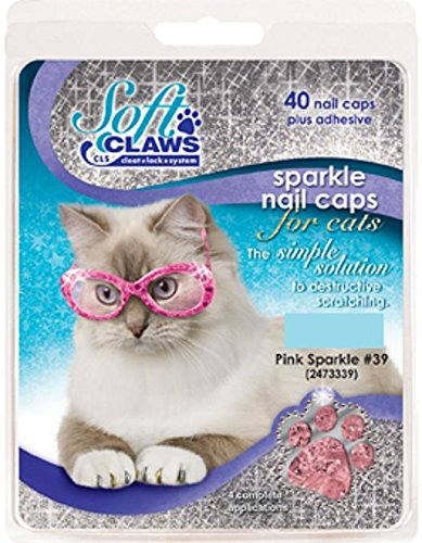 - Feline Soft Claw Nail Caps, Medium, Pink Sparkle