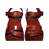 Sandalias de piel para Hombres y Mujeres (Circle Diseño) - Sandalias Sandalias Unisex hechas a mano, sandalias Sandalias de Sandalias de Jesús, Sandalias de Cuero Genuino de SANDALI
