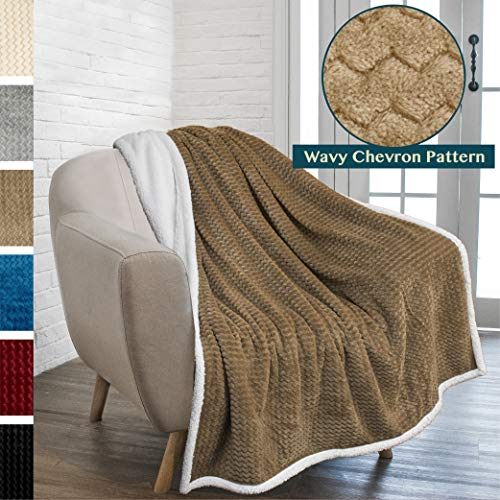 (PAVILIA Premium Chevron Sherpa Throw Blanket for Couch Sofa | Super Soft, Plush, Fuzzy Lap Blanket | Reversible Textured Velvet Taupe Throw | 50x60 Inches All Season)